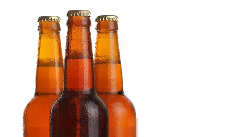 Photo of chilled beer in bottles
