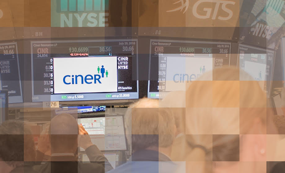 Decorative graphic showing Ciner Resources stock on floor of NYSE