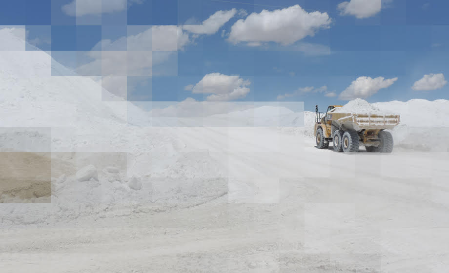 Truck carrying soda ash at mine site