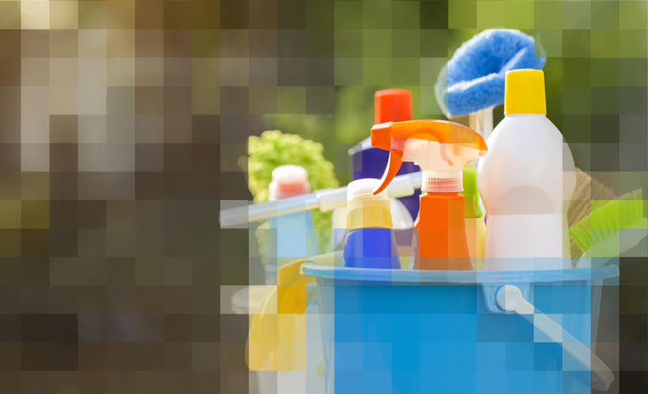 Graphic displaying cleaning products
